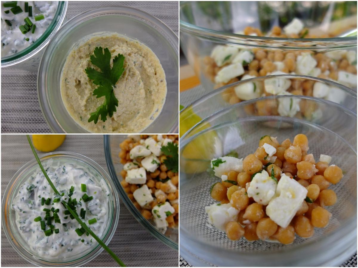 Hummus mit Joghurt und Limette, Schnittlauch-Quark und Kichererbsen-Salat mit Feta und Koriander